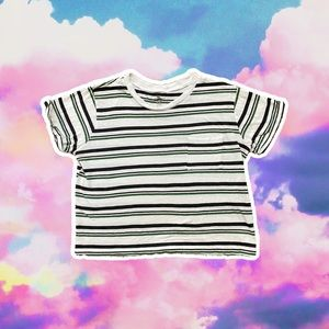 ME TO WE CROPPED STRIPED SCOOP NECK POCKET TEE